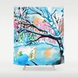 Frozen Pond Winter Landscape Shower Curtain