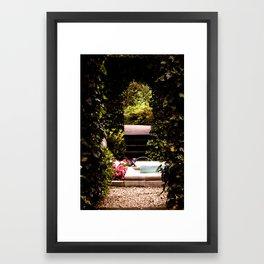 Secret Garden with Frog Prince Fountain Framed Art Print