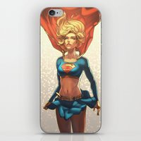 supergirl iPhone & iPod Skins featuring Supergirl III by Caleb Thomas