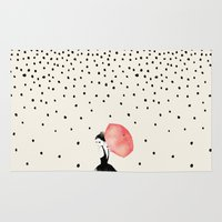 umbrella Area & Throw Rugs featuring Polka Rain by Karen Hofstetter