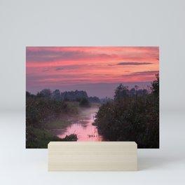 Lake at sundown Mini Art Print