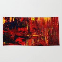 """Summer on the Delta"" Abstract Acrylic by Noora Elkoussy Beach Towel"