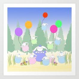 Fat Bunnies and Balloons Art Print