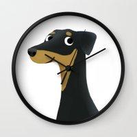 doberman Wall Clocks featuring Doberman - Cute Dog Series by Cassandra Berger