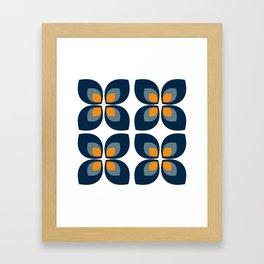 Minimal Art Mid Century Modern Leaf Flower Pattern Blue and Orange Framed Art Print