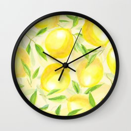 Lemons with leaves watercolor pattern Wall Clock