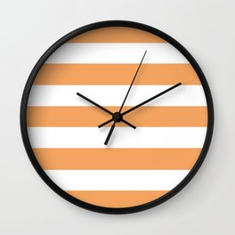 Sandy brown - solid color - white stripes pattern Wall Clock