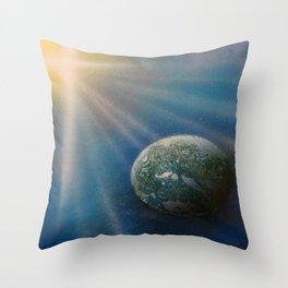 Sun Cross Earth Space Spray Paint Throw Pillow