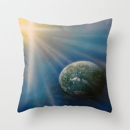 Sun Cross Earth Space Spray Paint Throw Pillow