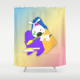 The artist Dog Shower Curtain