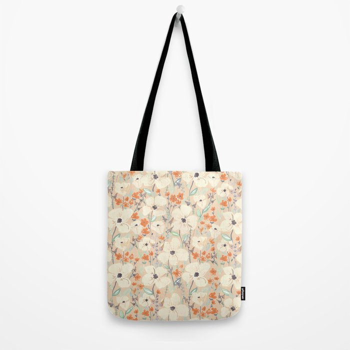 Flowers meadow beige and orange Tote Bag