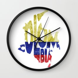Colombia Typographic World Map / Colombia Typography Flag Map Art Wall Clock