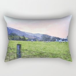 Dawn at Grasmere Farm with Sheep Grazing, Lake District, Cumbria, England. Watercolour Painting Rectangular Pillow