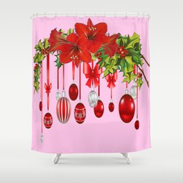 RED AMARYLLIS FLOWERS & HOLIDAY ORNAMENTS FLORAL Shower Curtain