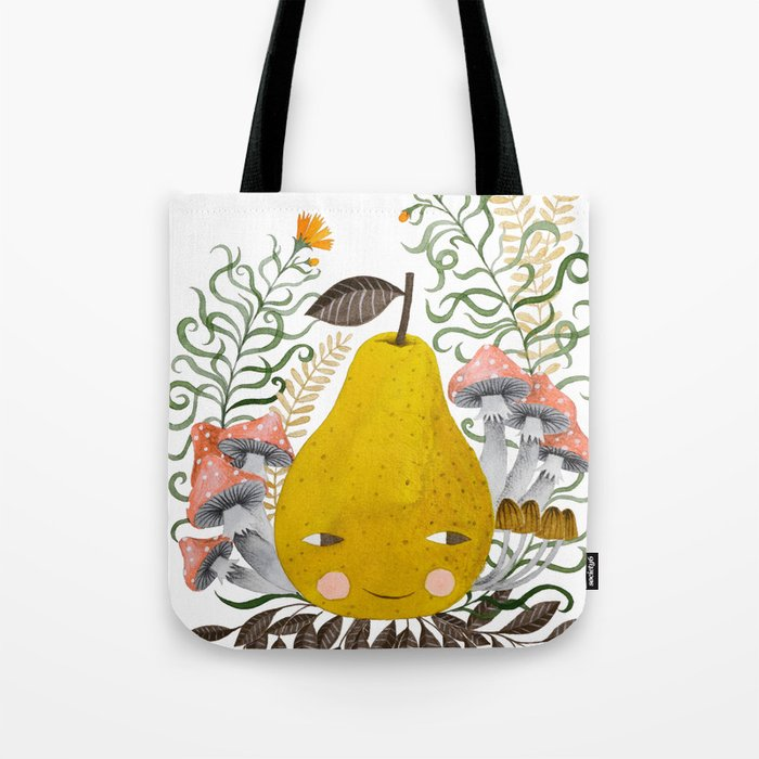 Winter pear with flowers and mushrooms watercolor illustration Tote Bag