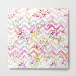 Chic vintage elegant pink flowers chevron pattern Metal Print