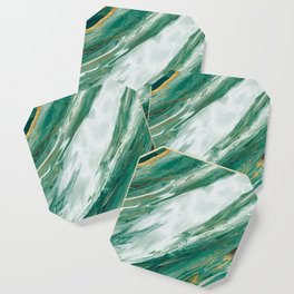 Emerald Jade Green Gold Accented Painted Marble Coaster