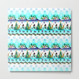 Christmas, Snowman Lawn Party with Friends 2 Metal Print