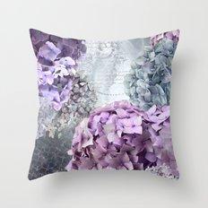 Vintage Flower Hydrangea Hortensia Collage Throw Pillow