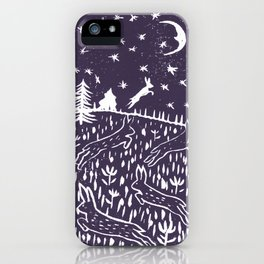 Hares Jump into the Night Sky in Purple iPhone Case