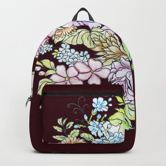 flowers on brown background Backpack