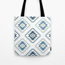 Aztec Style Motif Pattern Blues White Gold Tote Bag