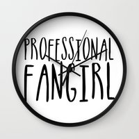 fangirl Wall Clocks featuring Professional fangirl by bookwormboutique