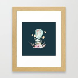 Whimsical Bunny in a Balloon Watercolor Design Framed Art Print