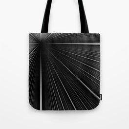 White rays focusing through black background Tote Bag