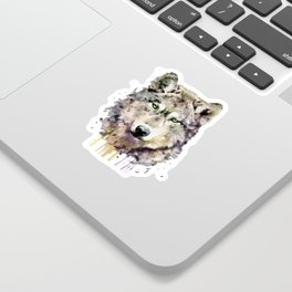 Wolf Head Watercolor Portrait Sticker