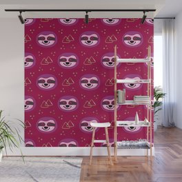 Sloths on Raspberry Pink Wall Mural