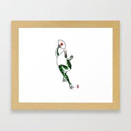 Japanese dancing frog Framed Art Print