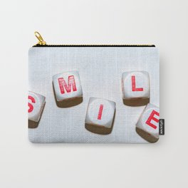 dice with letters make up the word smile Carry-All Pouch