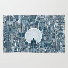 space city mono blue Rug