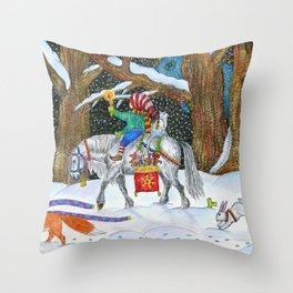 Christmas in the forest. Horse, boy, fox, hare and dinosaur. Throw Pillow