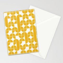 Mid Century Modern Geometric Pattern Yellow Stationery Cards