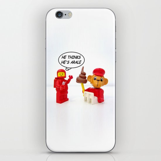 "space lego meeting the ""arale wannabe"" monkey iPhone & iPod Skin"