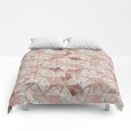 Modern rose gold geometric star flower pattern Comforters