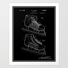 Hockey Skate Patent - Black Art Print