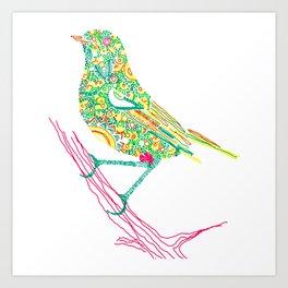 Birds sitting on branch Art Print