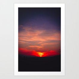 pinhole camera bavarian winter sunset Art Print