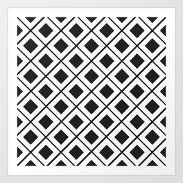Diamond Line Grid // black Art Print
