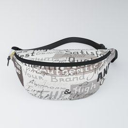 Grunge hipster pattern with different words and signatures Fanny Pack