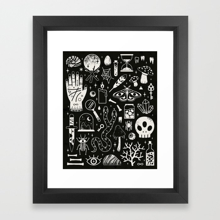 Curiosities: Bone Black Framed Art Print
