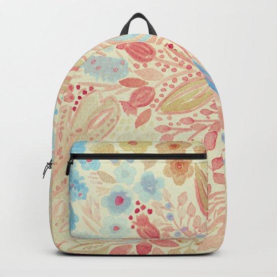 Watercolor .Flower meadow . Backpack