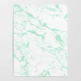 Trendy modern pastel mint green white marble pattern by Girly Trend Poster