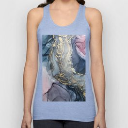 Blush, Payne's Gray and Gold Metallic Abstract Unisex Tank Top