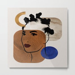 Afro Hair Style - Bantu Knots Metal Print