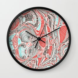 Coral and Teal Abstract Art Pattern Wall Clock