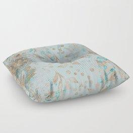Pastel Botanical Watercolor Pattern Teal Gold Glitter Floor Pillow